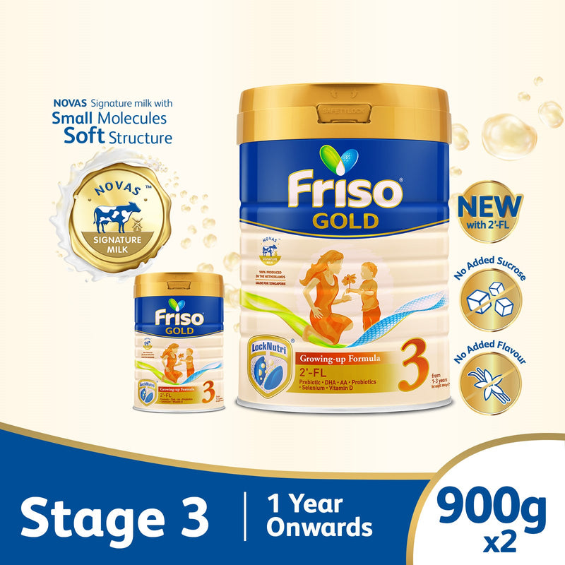 Friso Gold Stage 3 Growing Up Milk 2'-FL 900g for Toddler 1+ years [Bundle of 2]