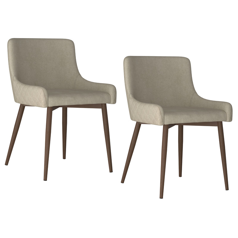 BIANCA-SIDE CHAIR-BEIGE/WALNUT LEG, SET OF 2
