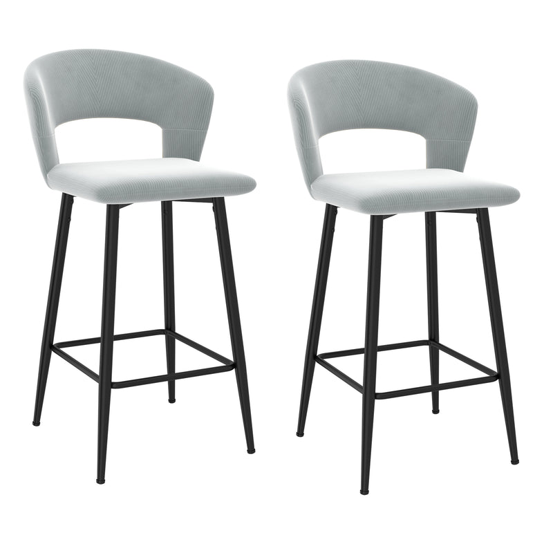 CAMILLE-26'' COUNTER STOOL-LIGHT GREY, SET OF 2