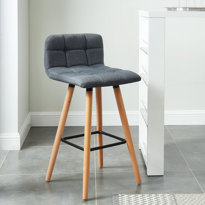 "RICO-26"" COUNTER STOOL-CHARCOAL, SET OF 2"