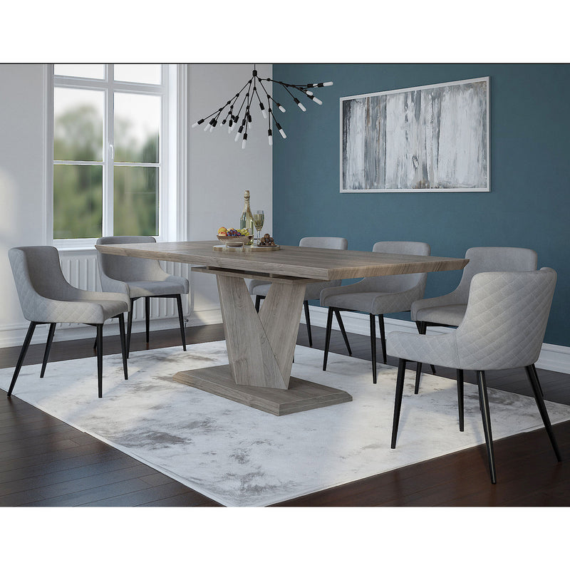 ECLIPSE/BIANCA GY_BK-7PC DINING SET
