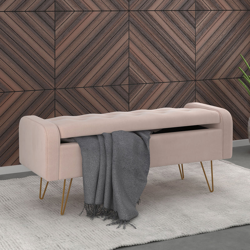 SABEL-STORAGE OTTOMAN-BLUSH/GOLD