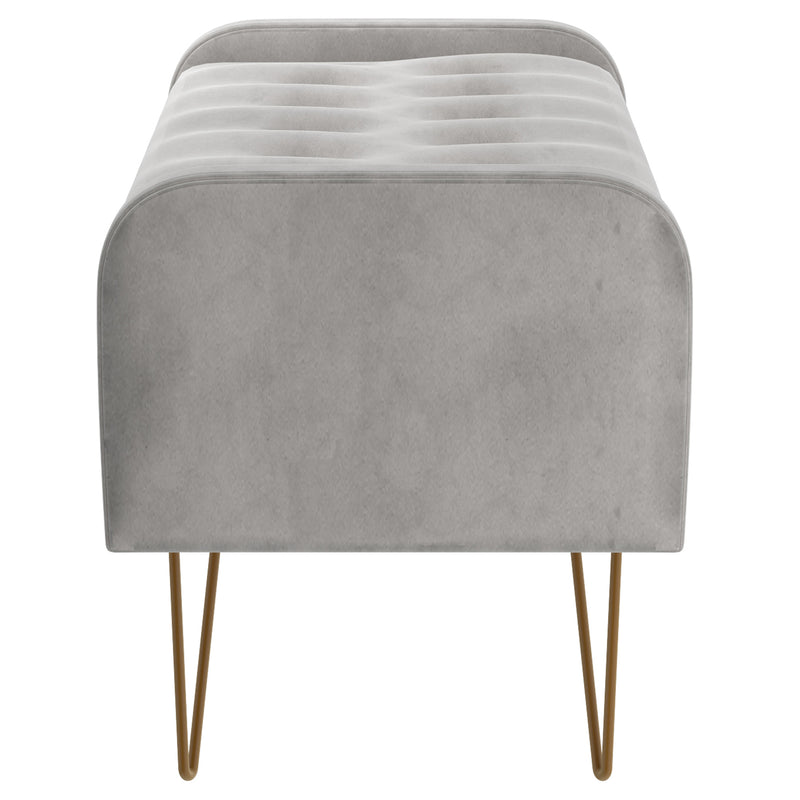 SABEL-STORAGE OTTOMAN-GREY/GOLD LEG