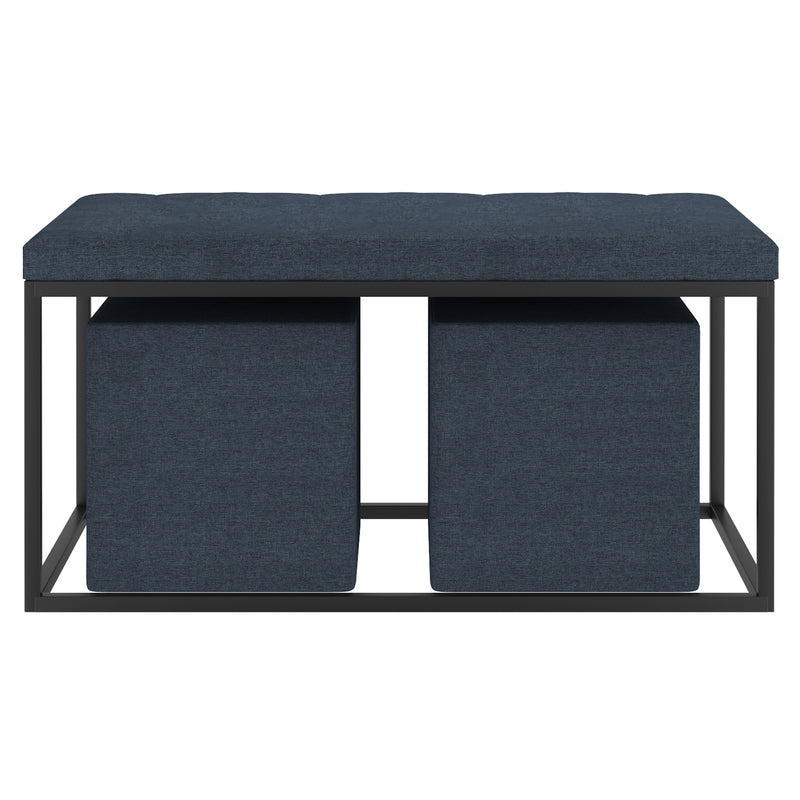 KNOX-3PC COCKTAIL OTTOMAN-GREY BLUE