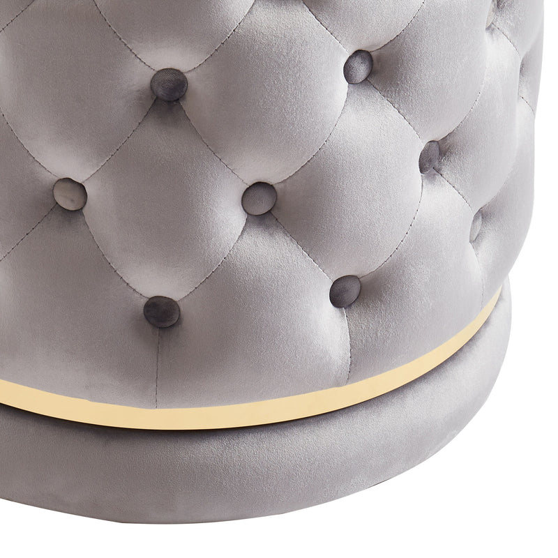 DELILAH-ROUND SWIVEL OTTOMAN-GREY/GOLD