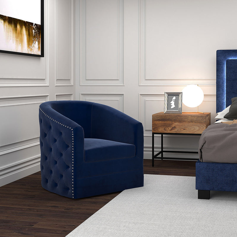 VELCI-SWIVEL ACCENT CHAIR-BLUE