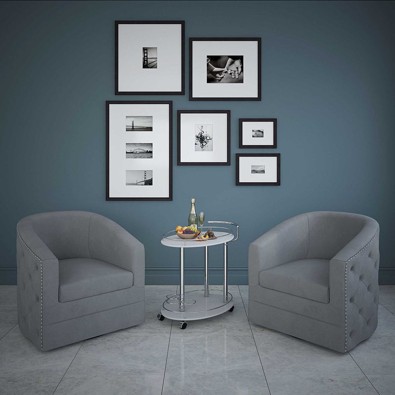 VELCI-SWIVEL ACCENT CHAIR-GREY