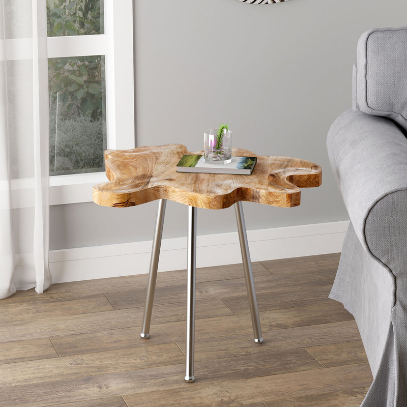 PARI-ACCENT TABLE-NATURAL/CHROME LEG