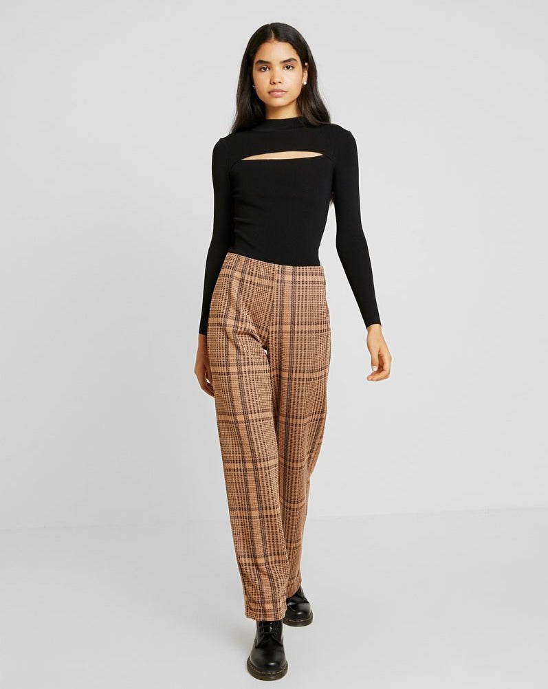 WIDE PANTS // Golden Toffee checked pattern