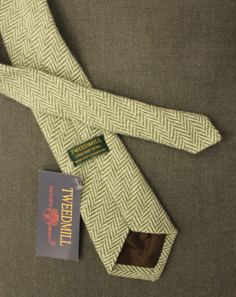 TWEEDMILL // Green herringbone tie - Loja Real
