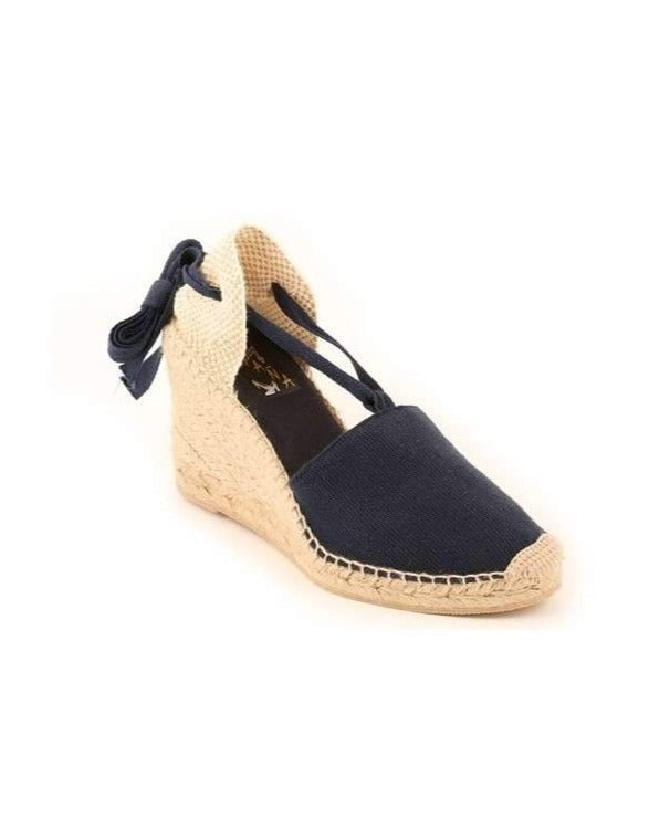 ESPADRILLES // High Wedge with Straps Navy
