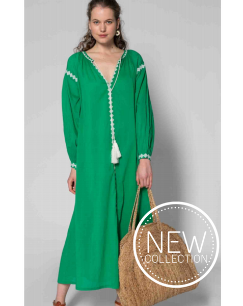 BEACHWEAR //  Long Raglan Dress Jolly Green