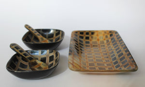 HORN TRAY // with bowls and spoons - Loja Real