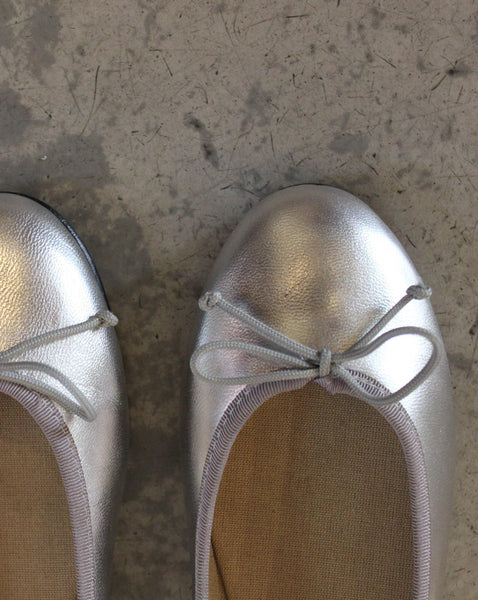 BALLERINAS // Silver leather - Loja Real