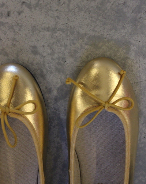 BALLERINAS // Gold leather - Loja Real