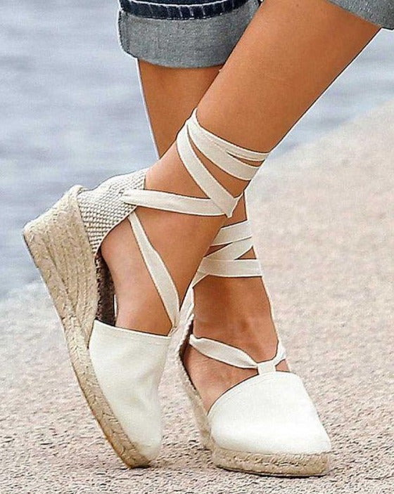 ESPADRILLES // Medium Wedge with Straps Rose