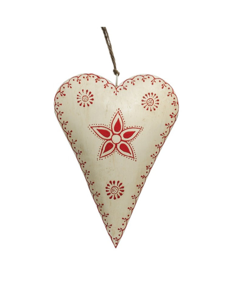 ORNAMENTS // Metal hand painted heart