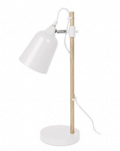 TABLE LAMP // Wood and white metal