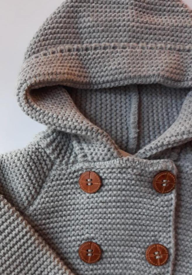 BABY JACKET // Four button grey hoodie - Loja Real