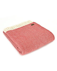 TWEEDMILL // Fishbone Cranberry throw
