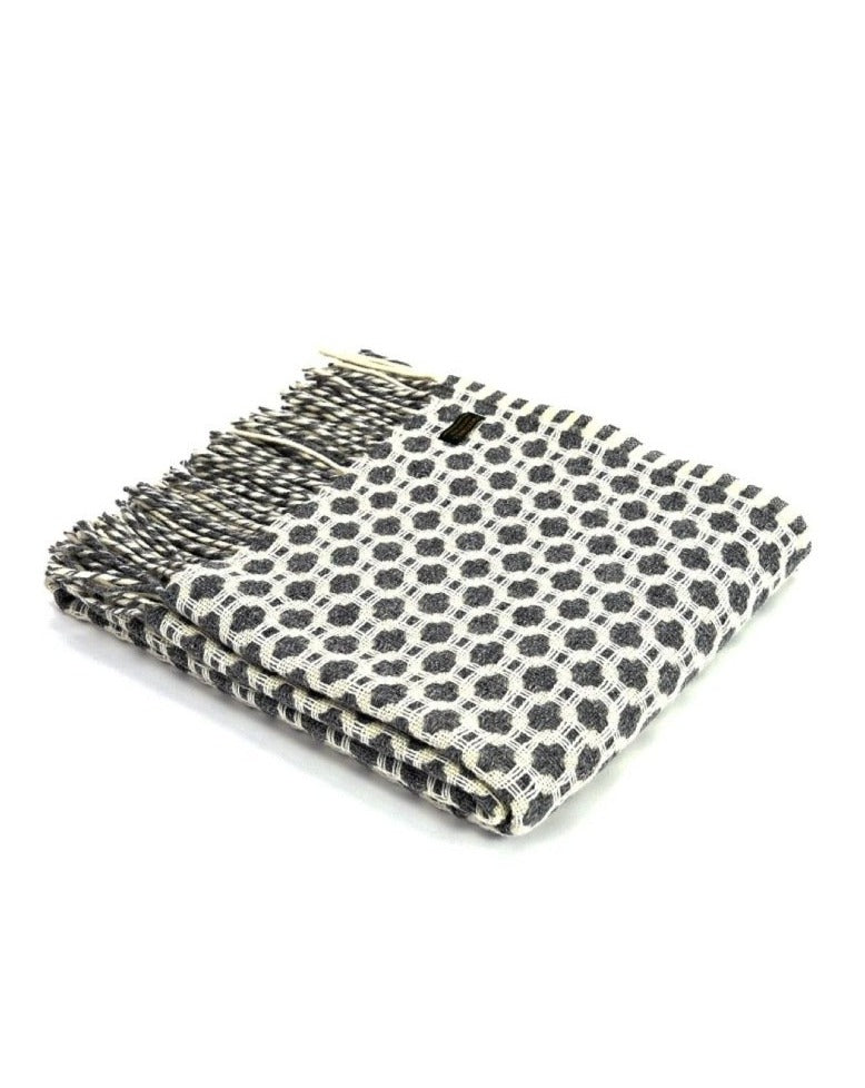 TWEEDMILL // Crossroads Grey and Soft White throw