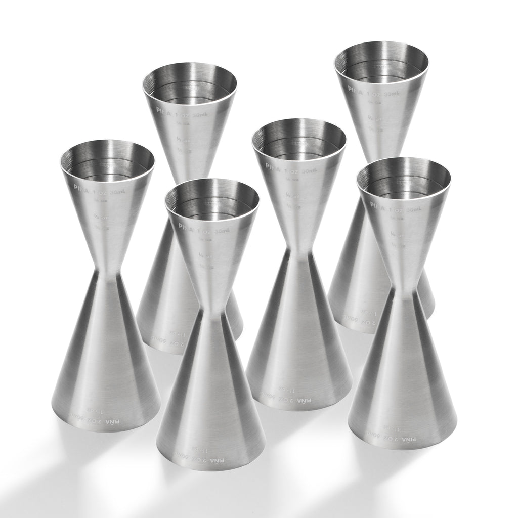The Slim Jigger, Brushed Finish - 6-Pack Commercial Bar Pack