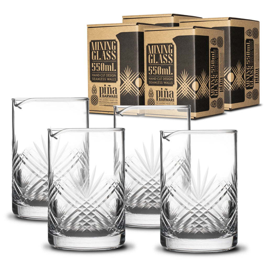 Piña Barware 550mL / 18oz Handcut Mixing Glass - 4-Pack Commercial Bar Pack
