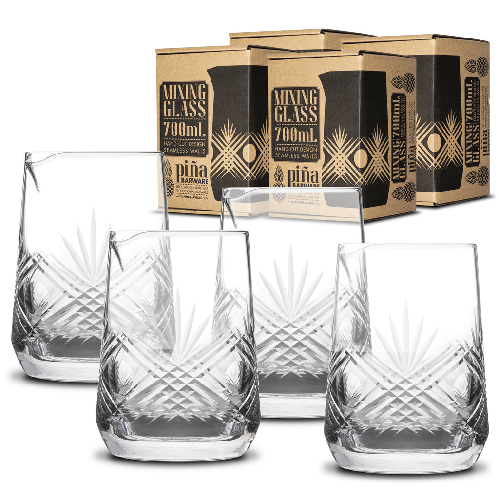 Piña Barware 700mL / 24oz Handcut Mixing Glass - 4-Pack Commercial Bar Pack