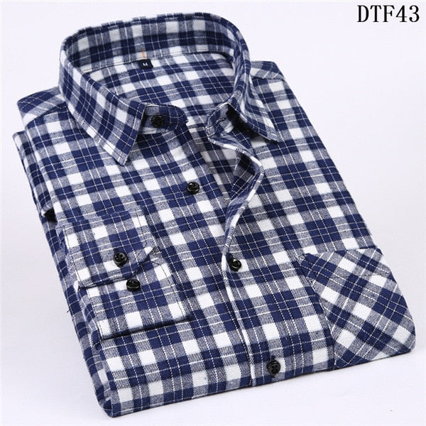 Men Flannel Plaid Shirt Casual Long Sleeve Shirt Soft Comfort Slim Fit Styles Brand Man Clothes