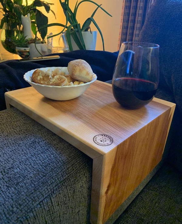 Wooden Couch Caddy Over A Couch Armrest With A Bowl Of Garlic Bread And A Glass Of Wine