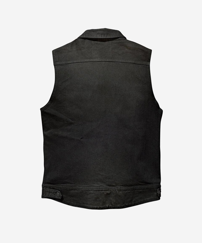 Moto Denim Vest - Black