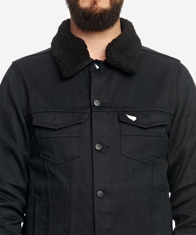 Faux shearling collar