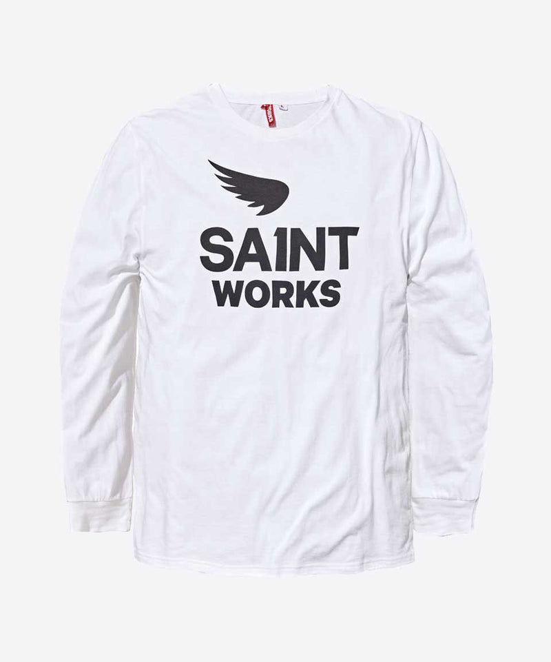 Works Logo Long Sleeve Tee - White