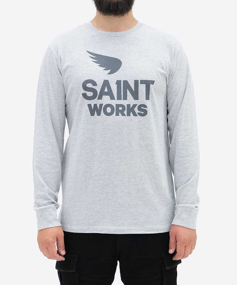 Works Logo Long Sleeve Tee - Grey Marle