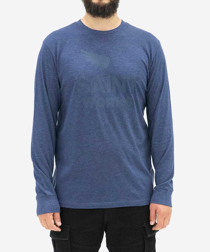 Works Logo Long Sleeve Tee - Navy Marle