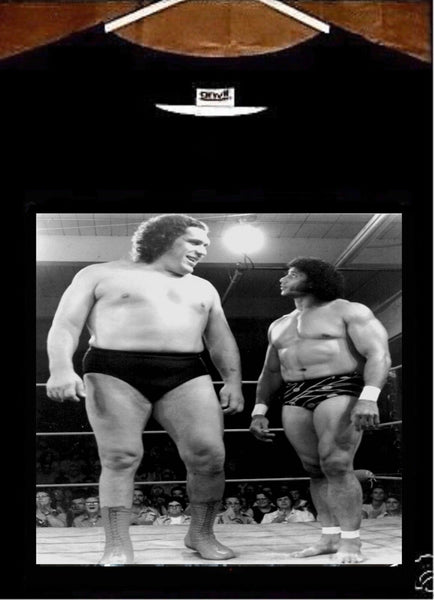 Andre The Giant T shirt; Andre The Giant w Superly Jimmy Snuka Tee shirt