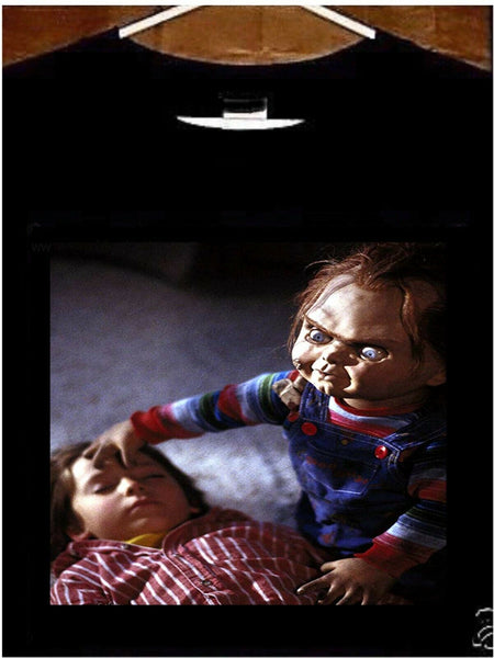 Chucky T shirt; Child's Play Movie 1988 Chucky Speaking In Tongues Tee Shirt