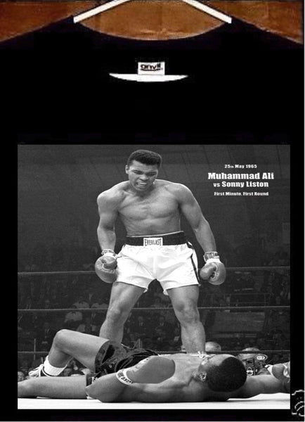 Muhammad Ali T shirt; Ali vs Sonny Liston KO T shirt