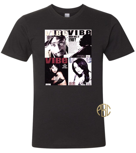 Tupac T Shirt; Left Eye 2PAC Aaliyah Biggie Smalls Vibe Cover Tee Shirt