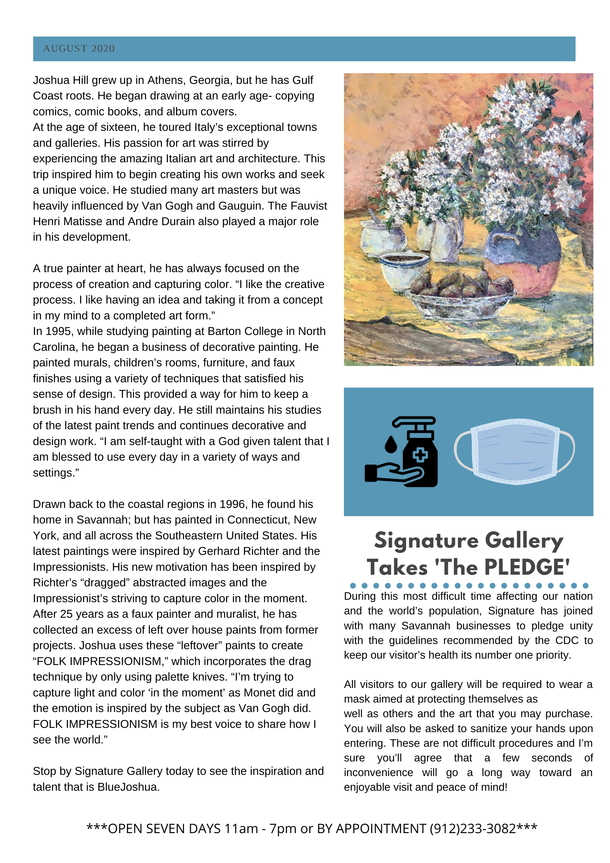 Signature Gallery August Newsletter