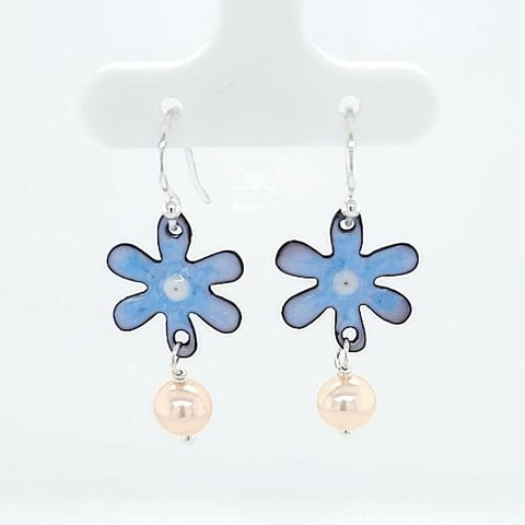 enameled flower earrings with pearls