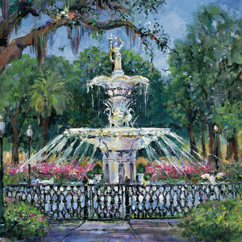 Forsyth Fountain painting by Sharon Saseen