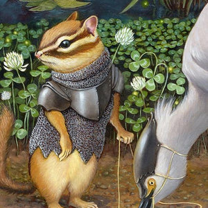 """Androth Wingrider"" - chipmunk and egret print"