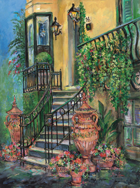 historic Savannah steps painting