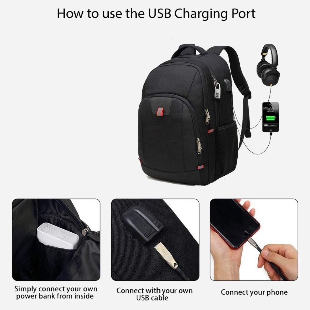 USB charging black business backpack
