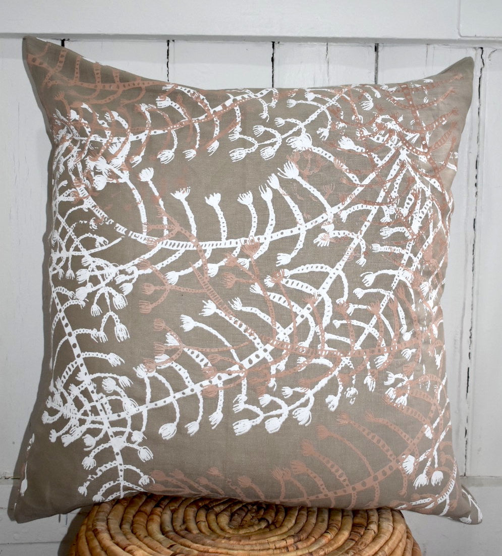Blueberry Ash - Handprinted Linen Cushion Cover