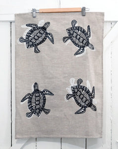 Bunbiya (Turtle) - Handprinted Linen Tea Towel