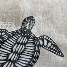 Load image into Gallery viewer, Bunbiya (Turtle) - Handprinted Linen Tea Towel
