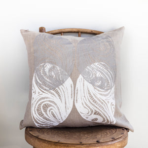 Kinyingarra (Oyster) - Handprinted Flax Linen Cushion Cover