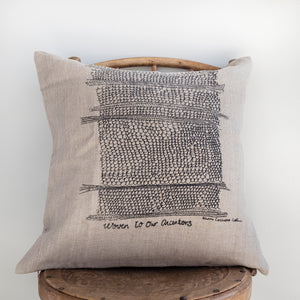 Woven to Our Ancestors - Handprinted Flax Linen Cushion Cover